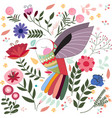 colorful bird in sptring summer flower garden vector image vector image