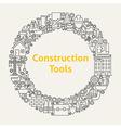 construction tools line art icons set circle vector image
