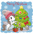 cute cartoon unicorn in a scarf vector image