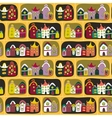 Cute seamless pattern with road and cartoon houses vector image vector image