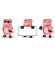 Deep Pink Pig Mascot happy vector image vector image