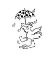 duck with an umbrella hand drawn black vector image