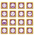 emoticon icons set purple vector image