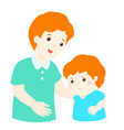 father soothes crying son vector image vector image
