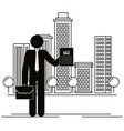 figure businessman with document in the city vector image
