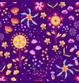 floral summer pattern in doodle graphyc vector image vector image