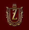 golden royal coat of arms with z monogram vector image vector image