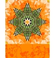 Green stylized flower over bright orange vector image