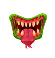 halloween monster mouth with fangs and tongue vector image vector image