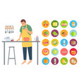 hobman male cooking food in kitchen vector image