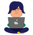 image blue hair - boy working on a apple vector image