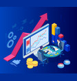 isometric web business concept financial vector image
