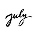 july brush lettering vector image vector image