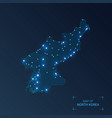 north korea map with cities luminous dots - neon vector image