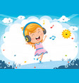of kid listening music vector image