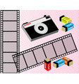 old film camera film and film in the package vector image vector image