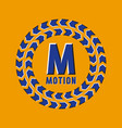 optical illusion motion logo in round moving frame vector image vector image