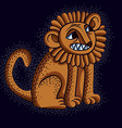 orange sitting lion with teeth and beauti vector image