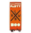 Orange vertical flyer Halloween with zombie hand vector image vector image