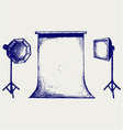 Photo studio with lighting equipment vector image vector image