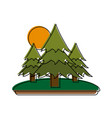 pine trees forest with sun and grass icon image vector image vector image