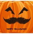 pumpkin portrait with mustache vector image vector image
