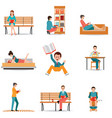 reading people flat character set with books vector image