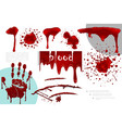 realistic blood splatters and splashes collection vector image