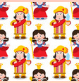 seamless pattern with cartoon queen and prince vector image vector image