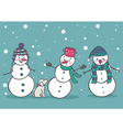 Set of 3 cute snowman vector image vector image
