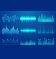set sound music wave template audio technology vector image