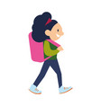 smiling school girl with backpack icon vector image vector image
