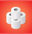 stack toilet paper rolls on red background vector image vector image