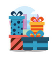stack wrapped gift boxes bow decoration striped vector image