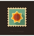 Sunflower retro flat stamp with long shadow vector image vector image