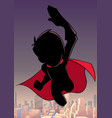 super boy flying sky silhouette vector image vector image