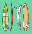 surf badge vintage surfer logo retro surfboard vector image vector image