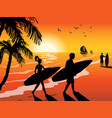 surfers beach and sunset background vector image vector image