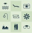 tourism icons set with tanker rudder road and vector image vector image