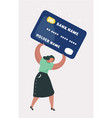 woman in debt on credit card vector image