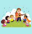 woman playing guitar with a group kids singing vector image