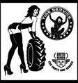 women mechanic cartoon character tire fitting vector image