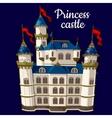 Princess castle on a blue background vector image