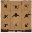spiders silhouettes collection vector image
