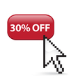 30 Off Button Click vector image vector image