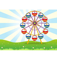 A ferris wheel at the hilltop vector image