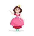 beautiful cartoon brunette princess girl character vector image vector image