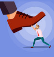 big foot stepping on businessman power vector image