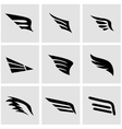 black wing icon set vector image vector image