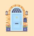 blue front door on yellow brick wall with two vector image vector image